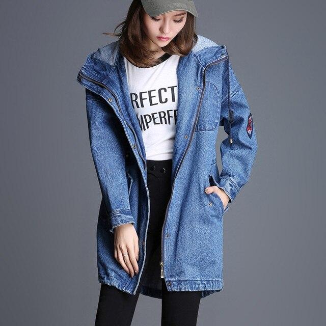 b46b1f2bd € 67.23 8% de réduction|S 5Xl grande taille bleu ciel Denim vestes pour  femmes printemps automne avec capuche femme tenue décontracté veste ...