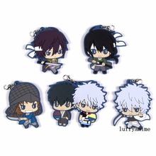 купить GINTAMA Rubber pendant Sakata Gintoki Japanese anime cartoon PVC Toy Figures Mobile Phone Accessories strap Keychain по цене 390.79 рублей