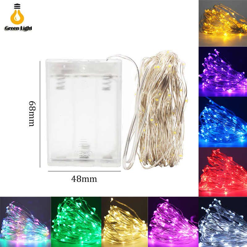 2M 5M 10M 100leds fairy lights battery 4.5V Copper Silver Wire led string lights Garland Home Christmas Wedding Party Decoration