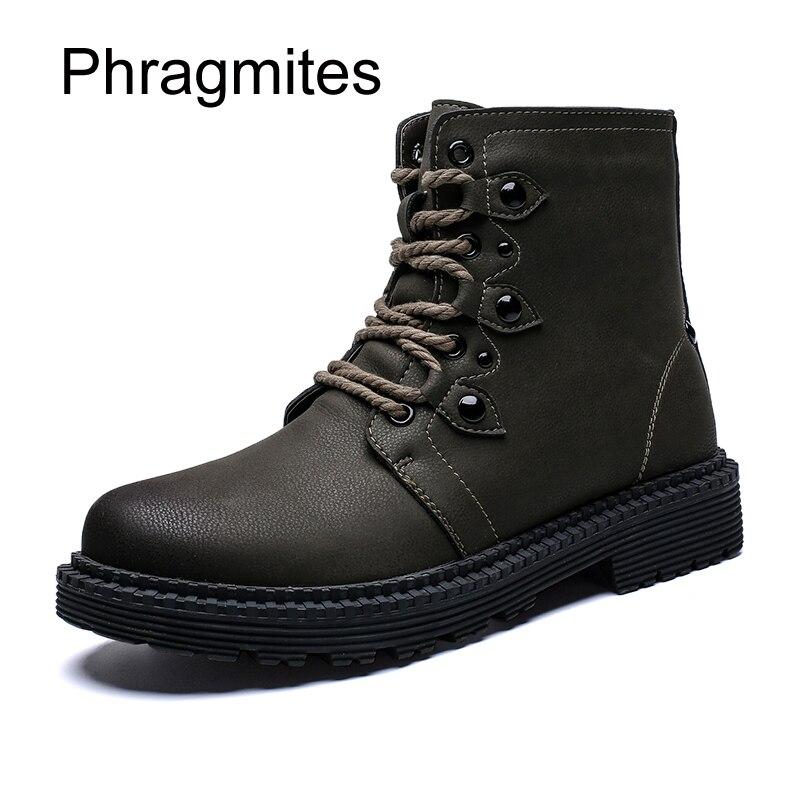 Hombres Invierno marrón Masculina verde 2018 Zapatos Martin Militar Cuero Botas Corea Negro Los Bota Japón De Impermeable Phragmites Series nBaxx6