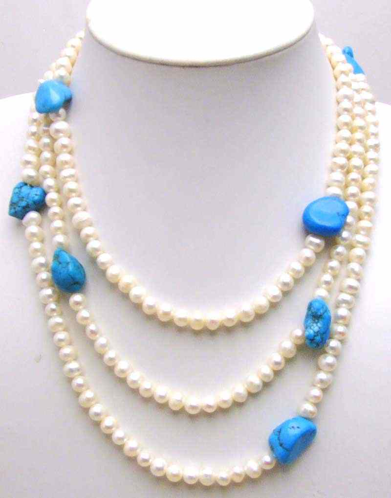 "Qingmos Blue Baroque Turquoises Necklace Long 60"" White Pearl Necklace for Women with 6-7mm White Round Pearl Sweater Jewelry"
