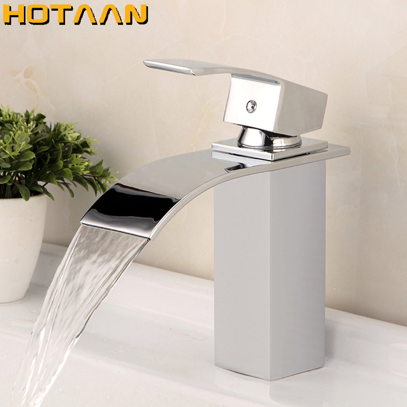 Free Shipping Wholesale And Retail Deck Mount Waterfall Bathroom Faucet Vanity Vessel Sinks Mixer Tap Cold And Hot Water Mixer free shipping wholesale and retail golden waterfall arc shaped basin vessel sink faucet deck mount basin mixer tap