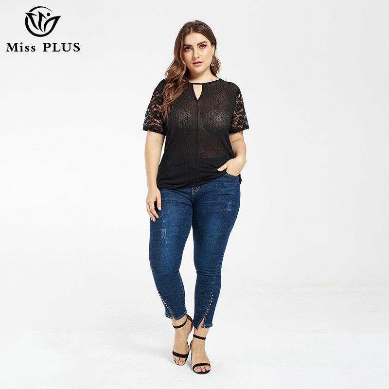 Grande taille femmes hauts et chemisiers dentelle patchwork à manches courtes été sexy pure femme vêtements élégant bureau dame blouse noire