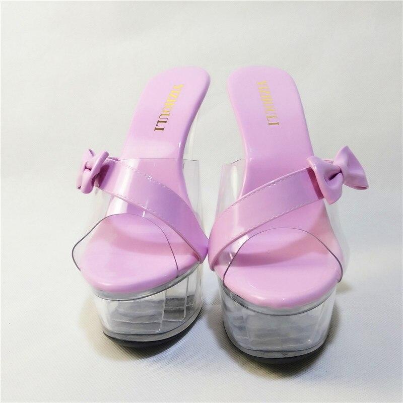 Zapatos Zapatilla Cm Alto rojo Negro Durante Cenicienta De 15 rosado Tacón Verano Cristal Sandalias El Modelo Nuevo qYdw6E