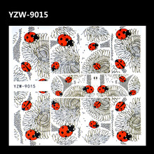 WUF 1 Sheet Water Transfer Foils Nail Art Sticker Black Flower Ladybug Design Water Decals Manicure Decorations Tools Sticker(China)