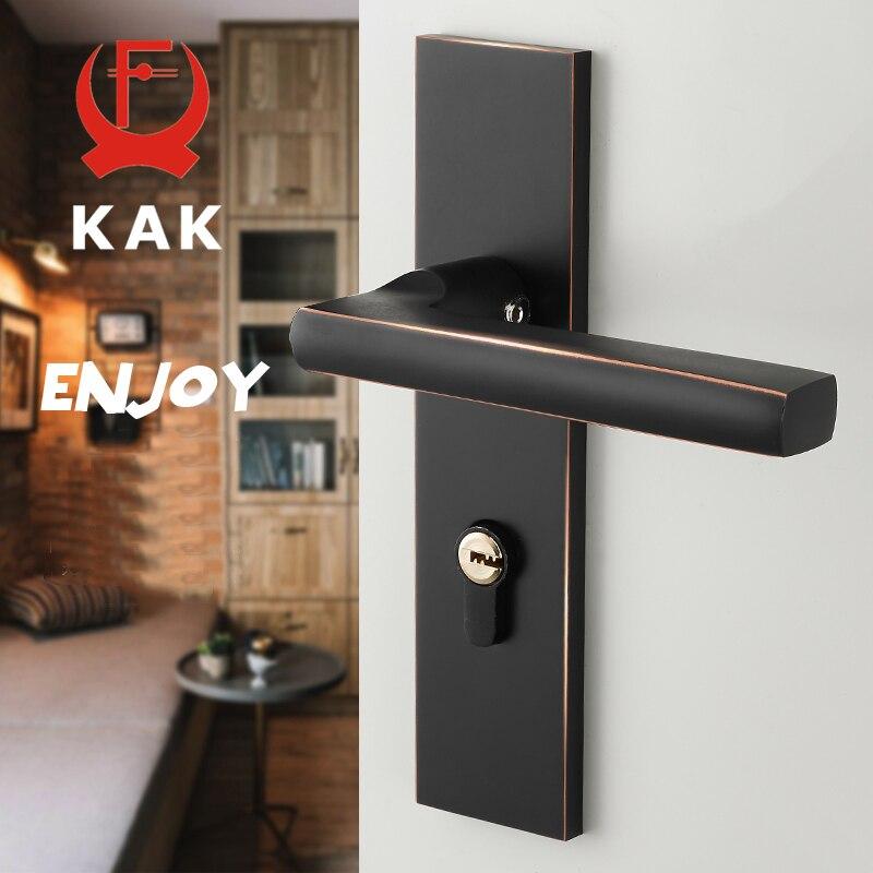 KAK Antique noir muet chambre porte serrure poignée Style américain intérieur porte boutons serrure Anti-vol porte serrure meubles matériel