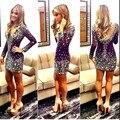 Rhinestone Vestido de Cóctel con Manga Larga Atractiva del V Cuello y Espalda Abierta Corto a Medida Vestido Formal robe de cóctel 2016