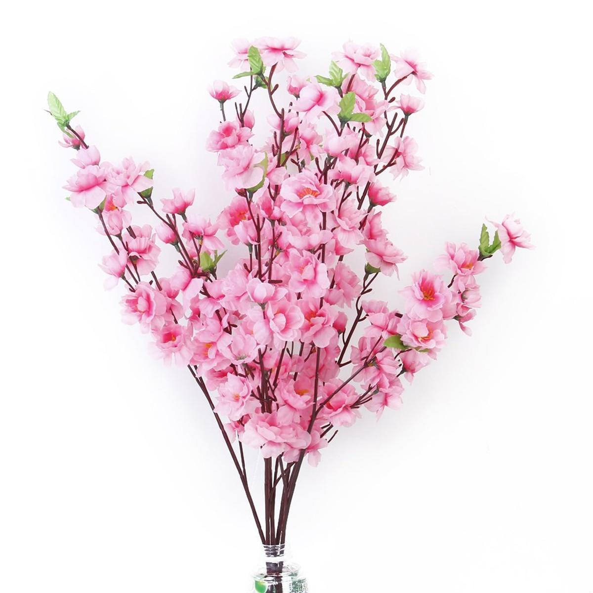 6pcs Peach Artificial Cherry Spring Plum Peach Blossom Branch Silk