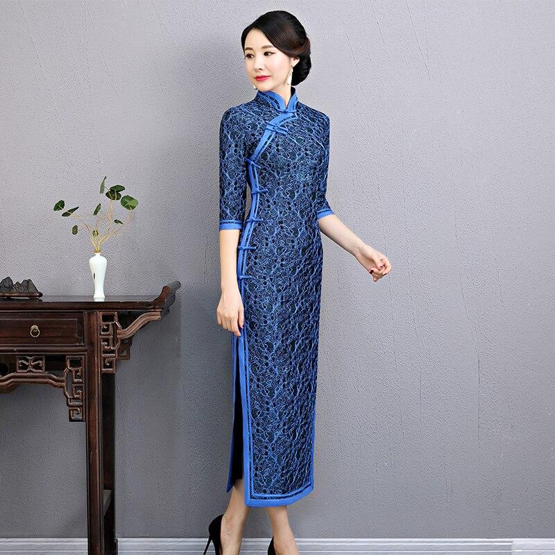 À Col Plus Mandarin Printemps gris Partie Mince Robe 3xl Chinois Long Bleu Qipao Style Dentelle Cheongsam Taille S Robes Vintage Femmes 4qdZqA