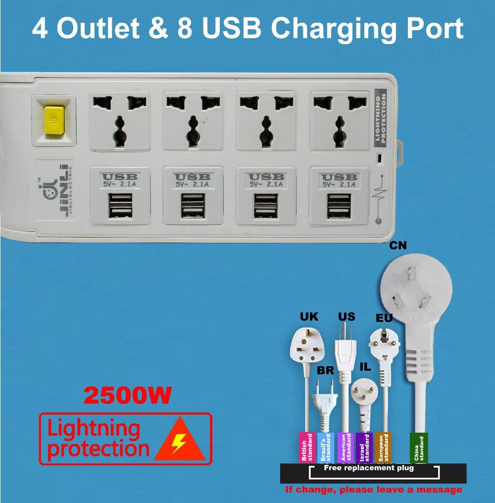 цена на power strip eu Portable Charger Socket 8 USB(5V/2100mA) with 3Meter / 10Ft