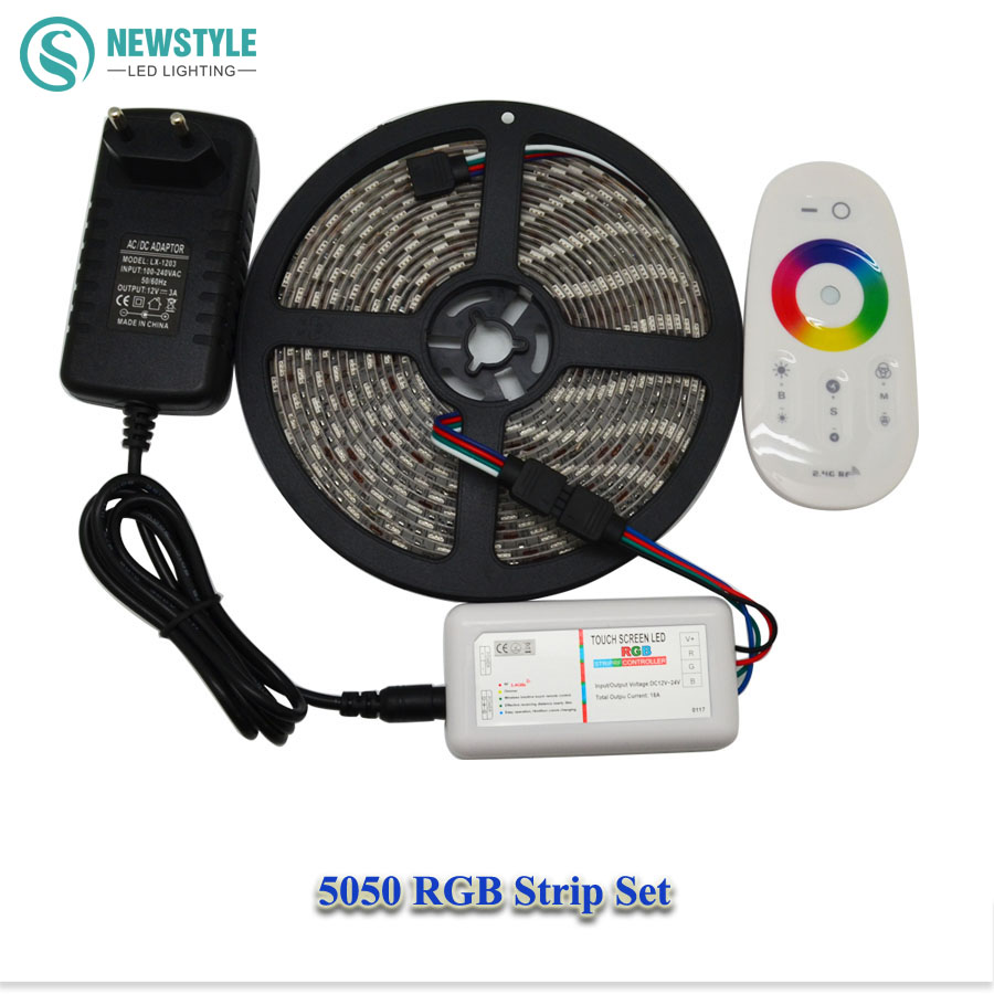 DC12V 5050 Waterproof RGB Led Strip Flexible Tape Ribbon led light + RF Touch Remote Controller + Power Adapter Supply