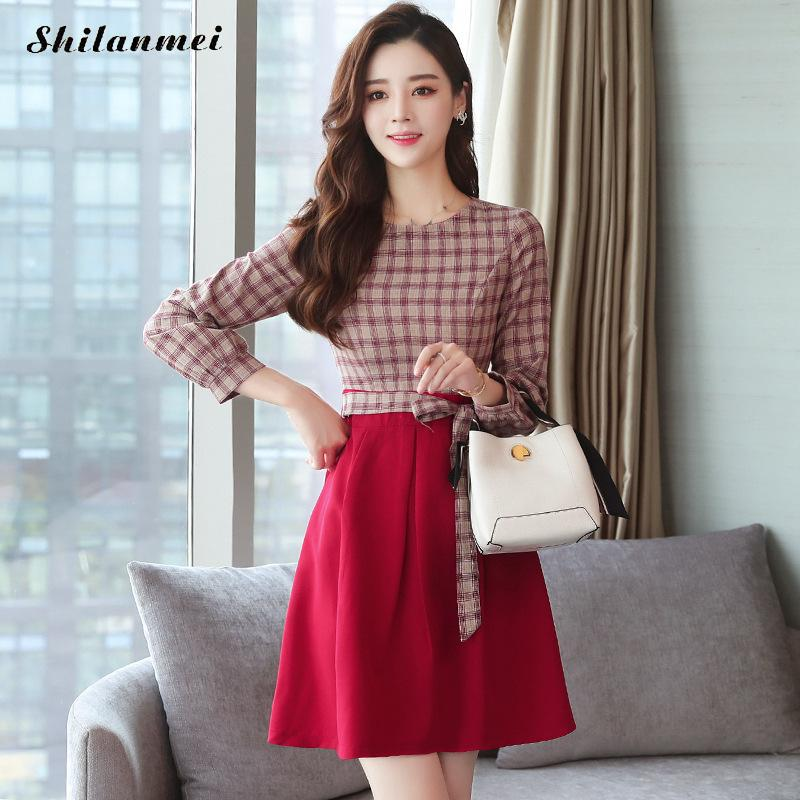 Plaid Slim New 2018 Autumn Long Sleeve Shirt Dress Women Fashion Round Collar Casual Graceful Female A Line Dresses Vestidos 2
