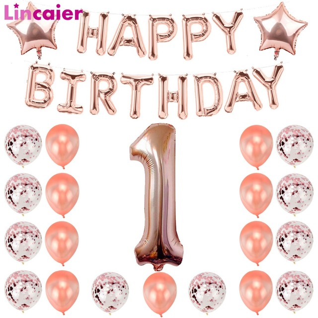 Lincaier Rose Gold 1st 2 3 4 5 6 7 8 9 18 21 30 40 50 60 Years Happy Birthday Number Balloons Party Decorations Kids Adult