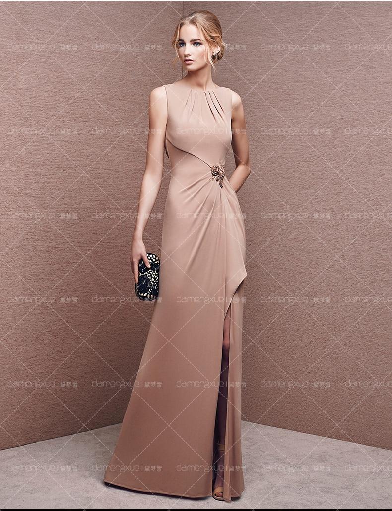 new design vestido de festa long sexy backless Front Split straight off the shoulder pleat champagne chiffon   bridesmaid     dresses