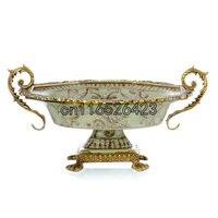 Европейский стиль керамическая вставка медь креативный высокий фрукты чаша классическая декоративная тарелка для фруктов украшения дома