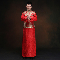 New arrival maleChinese style Suit Red groom Robe long gown traditional Chinese wedding costume For men and bridegroom
