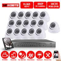 16CH H.265 4MP POE CCTV NVR system 16Pcs 1080P IP66 VandalProof security Indoor Outdoor IP camera video Surveillance kit HDMI 4K