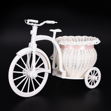 26*16*12cm Plastic White Tricycle Bike Design Flower Basket Container For Plant Home Weddding Decoration DIY