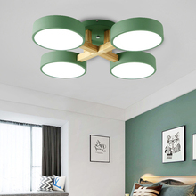 Nordic Led Ceiling Lamp Wood Acrylic Shade Modern Design Plafondlamp Iron 3/4 Heads Japanese Round Hanging Lights Home
