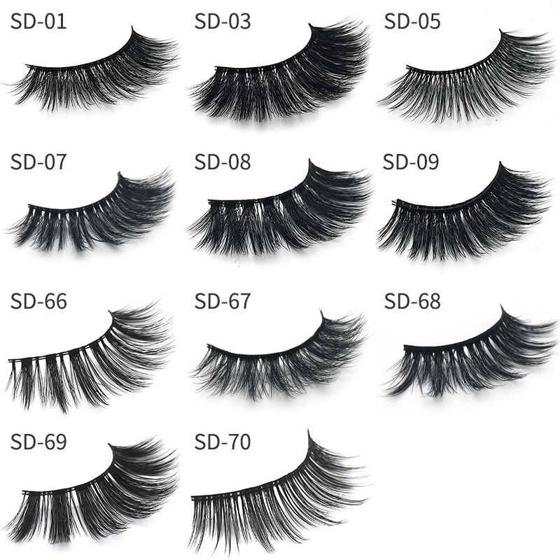 1 pair packaging 3D mink fake eyelashes false eyelashes natural makeup eyelash extension long Thick Cross Eyelashes Eye Lashes