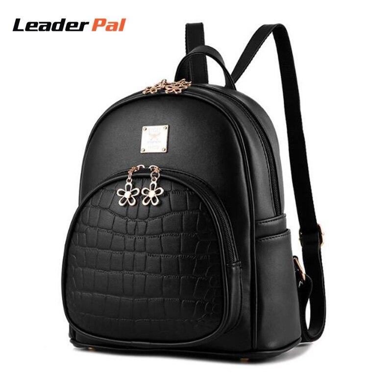 Fashion 2017 Backpack Women Backpacks Alligator Style School Bags For Teenagers Girl Small Bag Black PU