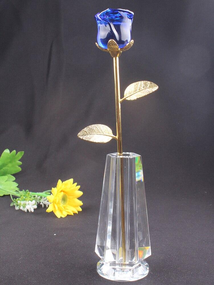 Gros mariage décoration nouveaux produits verre cristal rose fleur pour souvenir cadeau bleu Rose