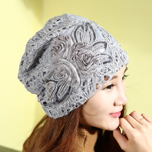 2017 Limited Sale Women Adult Beanie Autumn Winter Hat Female Lace Cap Turban Set Leisure All-match Korean Confinement Thin