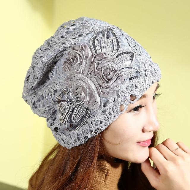 2017 Limited Sale Women Adult Beanie Autumn Winter Hat Female Lace Cap Turban Set Leisure All-match Korean Confinement Thin