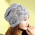 Autumn winter hat female Lace Cap turban female set turban female leisure all-match Korean confinement thin cap