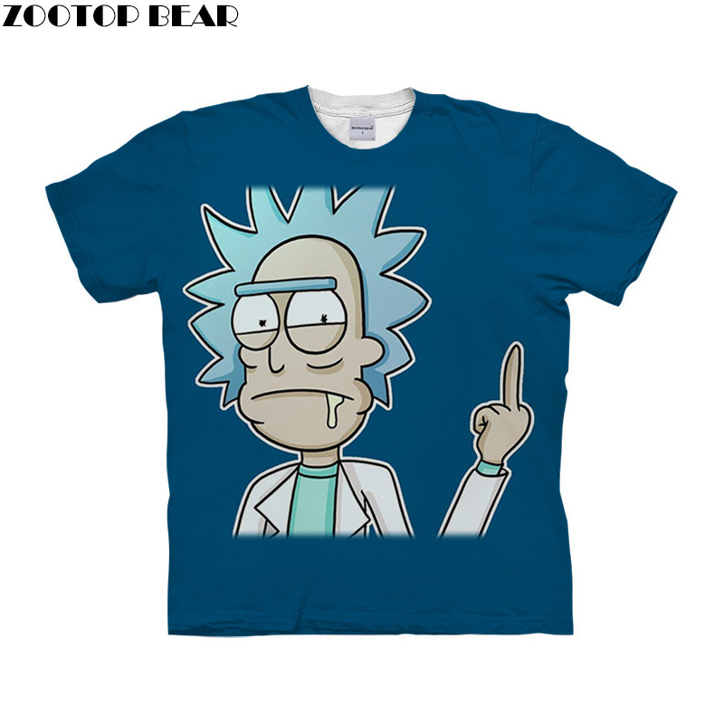 Funny Cartoon rick and morty Men T Shirt 3D Print Surfing Quick Dry Male Shirts Fitness Tee Breathable Summer Casual ZOOTOPBEAR