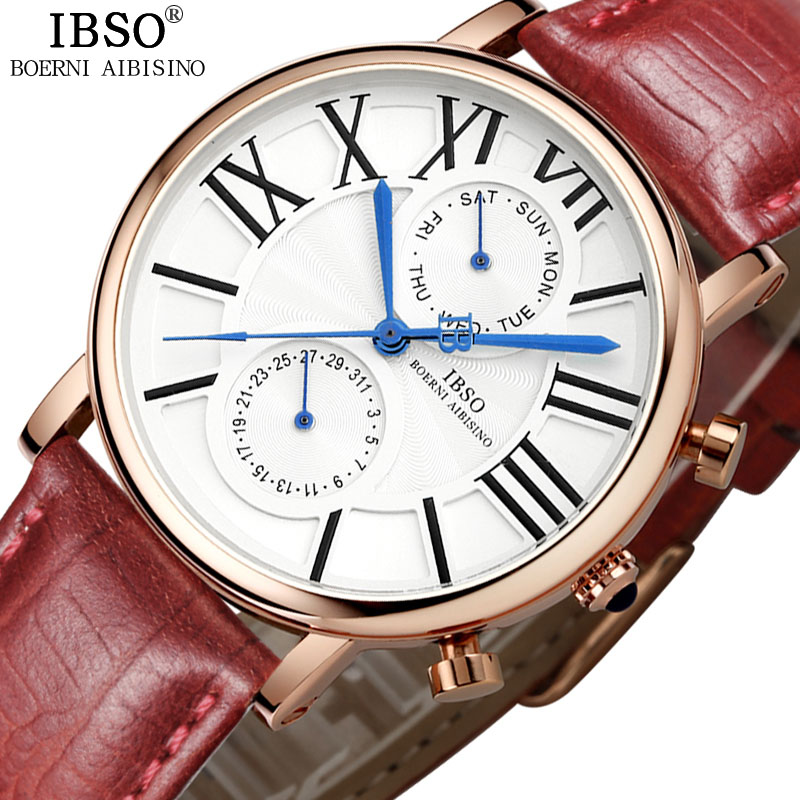 IBSO Multifunction Woman Watches 2019 Top Brand Quartz Genuine Leather Strap Watch Women Calendar Week Display Reloj Mujer