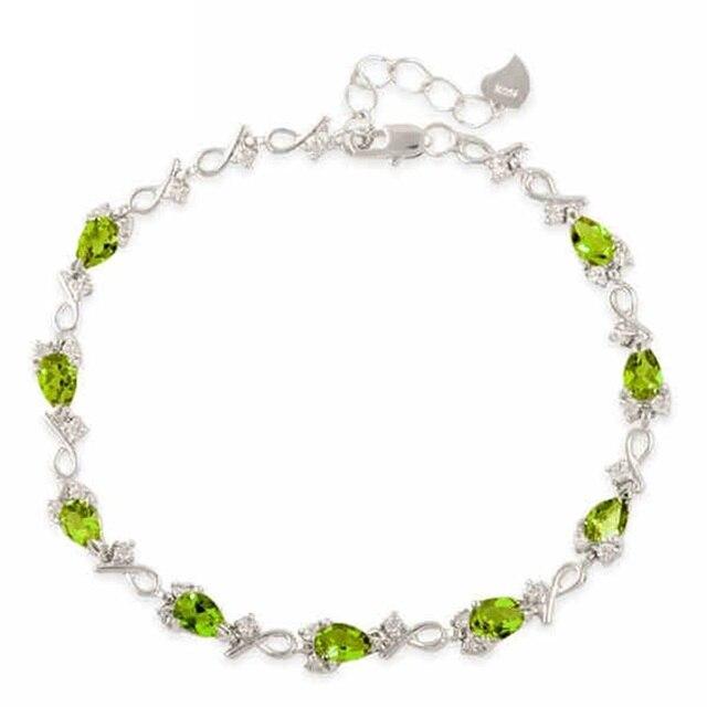 Подлинная стерлингового серебра 925 природных полудрагоценных камень AAA + класс оливковое перидот сеть и ссылка браслеты модный изящных ювелирных изделий