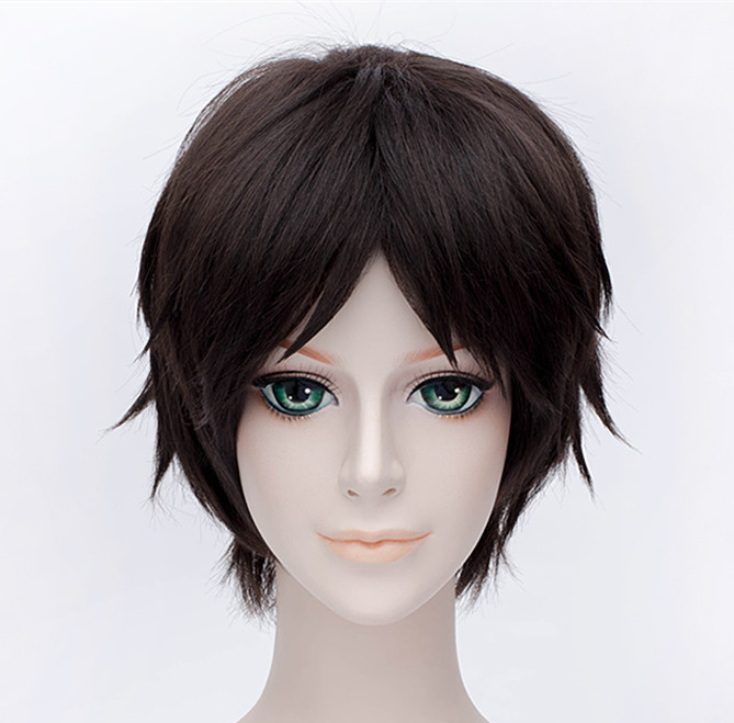 Attack on Titan Hans Zoe 40cm Short Straight Cosplay Wigs for Women Female Fake Hair Anime Universal for Party Brown+ Wig Cap