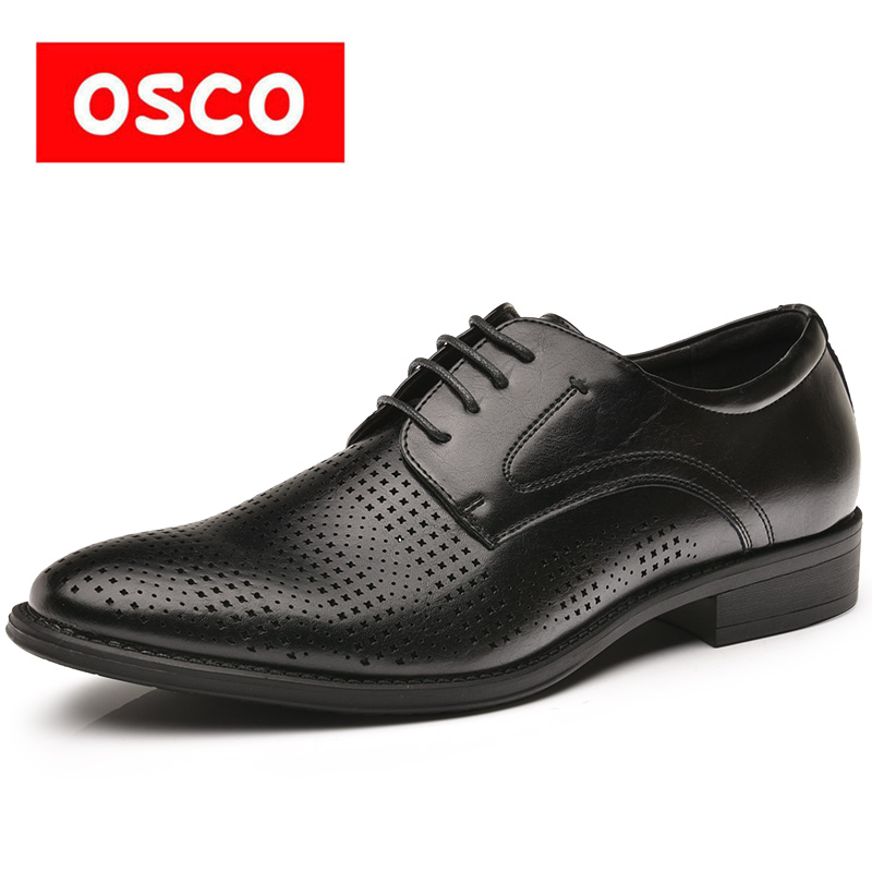 OSCO Formal Oxfords Lace Up Office Business Dress Men Shoes Summer Punch Breathable Hollow Shoes Leather British Casual Sandals футболка springfield springfield sp014emtcb17