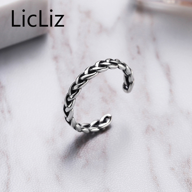 LicLiz 925 Sterling Silver Braided Open Ring Punk Style Adjustable Twisted Ring New Year's Gift Jewelry For Women Anillos LR0279