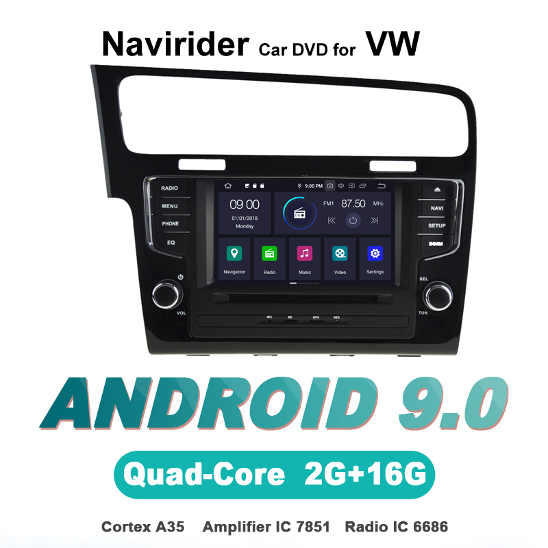 Navirider autoradio gps navigation android 9.0 lecteur d'autoradio pour GOLF 7 Golf 2013-2015 Aux bluetooth stéréo accessoires auto