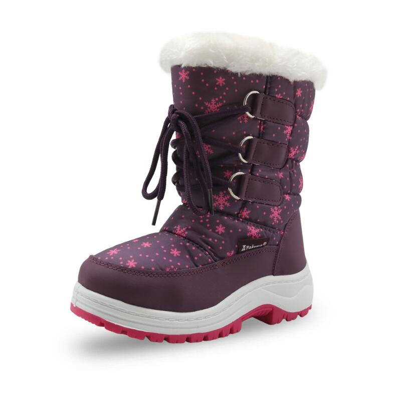 Filles bottes de neige enfants 2018 mode hiver flocon de neige à poils bouche filles bottes en coton antidérapant épais chaud bottes de neige pour enfants