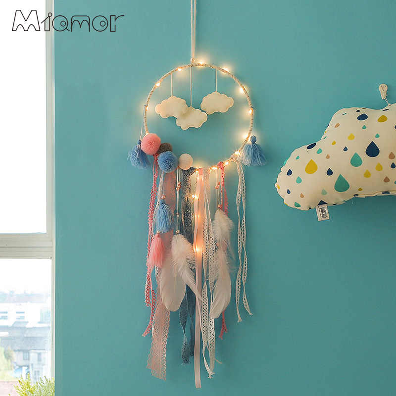 Dreamcatcher With Light Big Lace Dream Catcher with Clouds & Pompom Home Wall Hanging Decor Pendant for Kid's Bedroom AMOR143