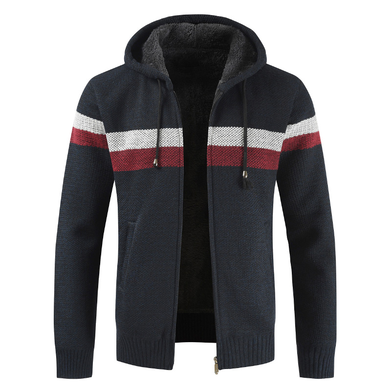 Brand Patchwork Wool Knit Zipper Sweater Drop Ship Cardigan Winter Male Full Stand Collar Warmth Men Casual Top Coat Plus 3XL