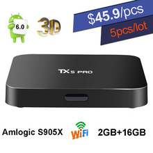 2 GB 16 GB Android 6.0 TV Box TX5 Pro Amlogic S905X Quad Core Smart Mini PC 2.4G 5.8G Wifi 4 K 3D Media Player Android6.0 TVbox DHL