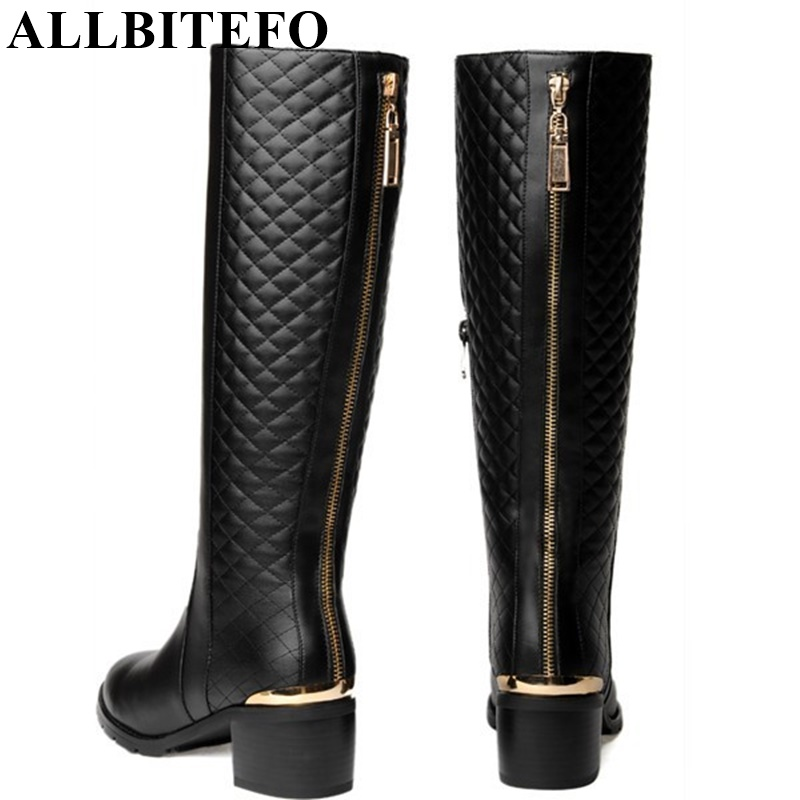 ФОТО ALLBITEFO Golden zip decorate fashion spring winter snow shoes genuine leather +PU women boots casual knee high boots,size 33-43