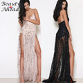 2016 Latest Sexy Women Sportswear Spaghetti strap Sequin Maxi Long Sportswear High Split Evening Party loose mermaid
