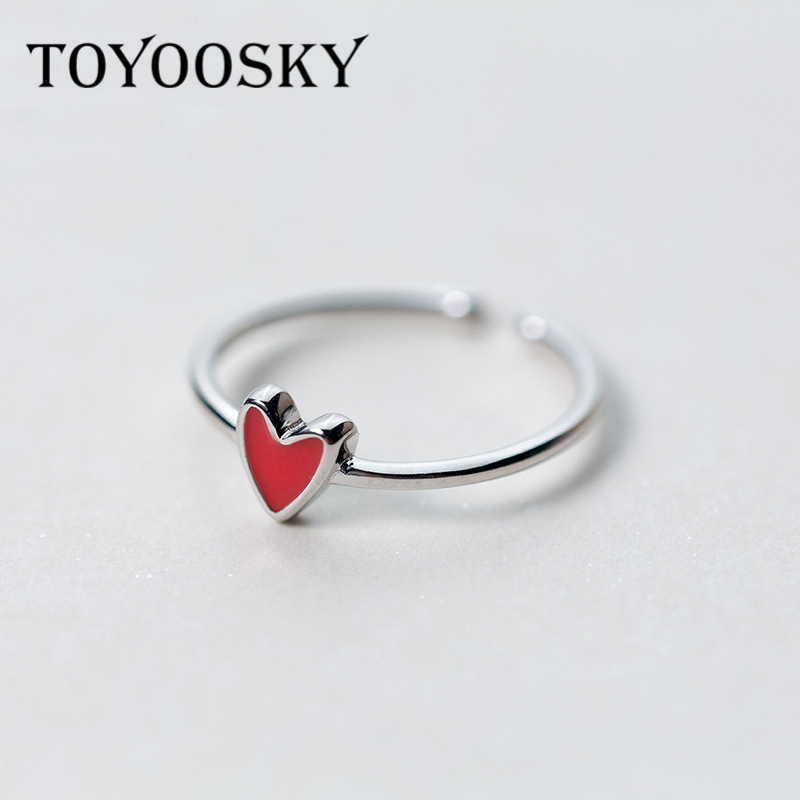 TOYOOSKY Pendatang Baru 925 Sterling Silver Rings Little Red Heart - Perhiasan fashion - Foto 1