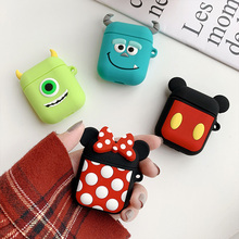 For Apple Airpods Case Soft Silicone Cover Cute Cartoon Bluetooth Earphone Protective Case Bag for Air pods 2 Key Ring Strap
