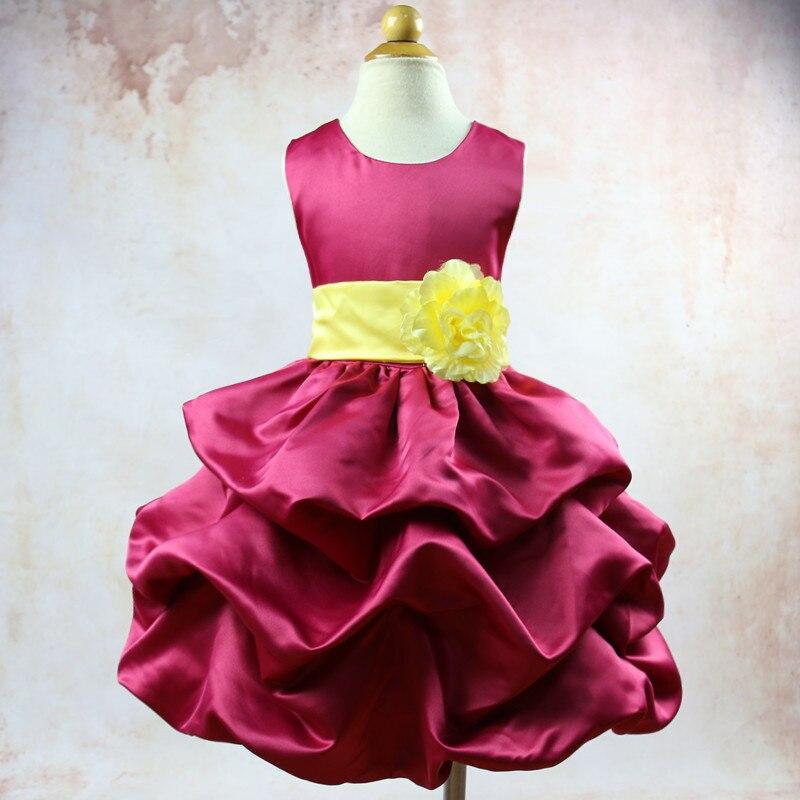 It's YiiYa Purolish Red Sleeveless O-Neck Stain Lace with Sashes Kids Princess   Flower     Girls     Dress   Little Baby Party TS049