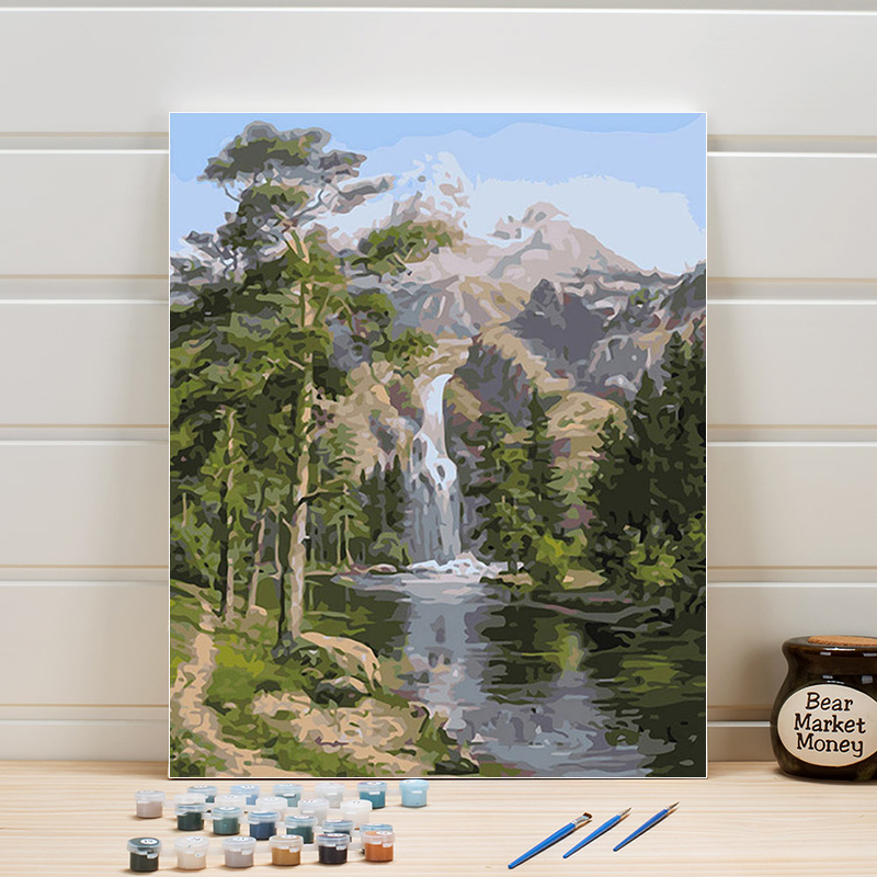 Landscape Canvas Painting By Numbers 40x50cm Waterfall Stream Acrylic Paint Number Walls Pictures For Bedroom Decoration Adults