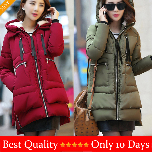 Women's Long Sleeve Winter Cotton-padded Jackets Parkas Zipper Overcoat Lady Casual Down Coat Jacket Plus Size Red,Black,Army