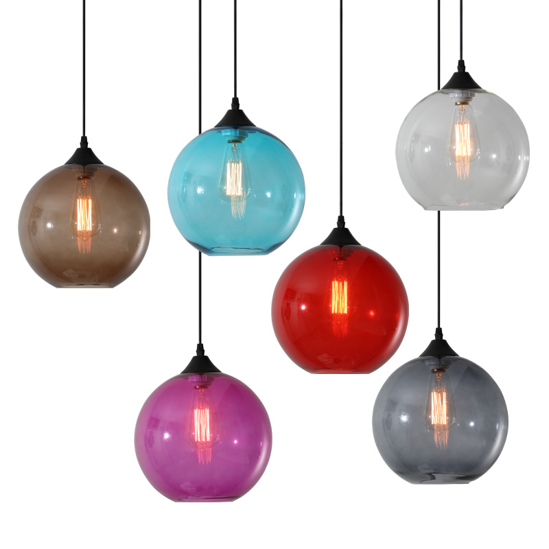 Colorful Goldfish Bowl Glass Chandelier Modern Simple Bar Cafe Creative Lighting For Dining Room Kitchen Home Fixtures