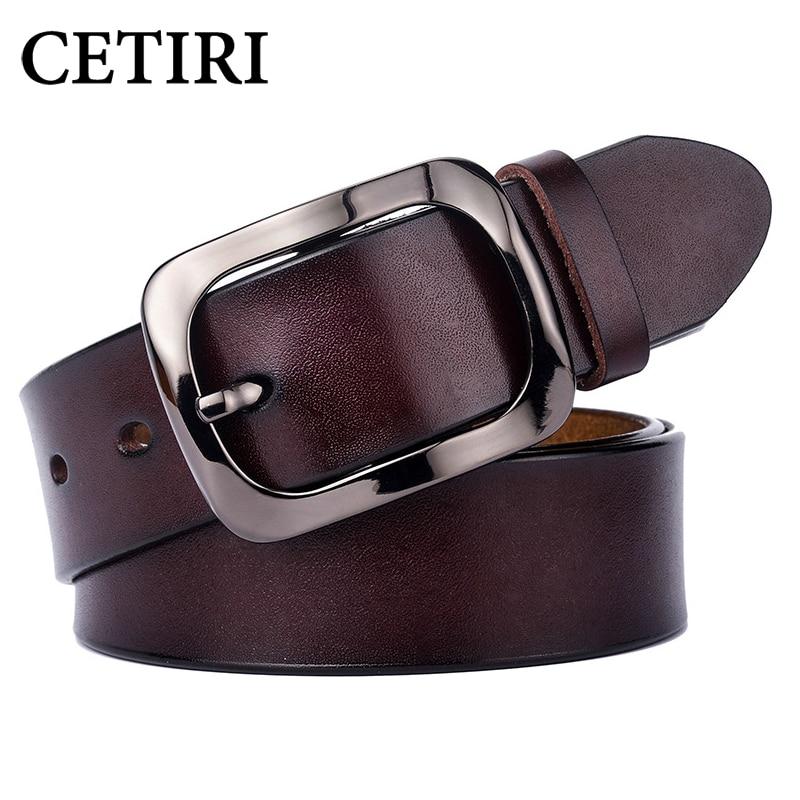CETIRI Fashion Vintage Genuine leather belt woman Luxury Designer wide belts women Second Layer Cow skin strap for Jeans Female|Women