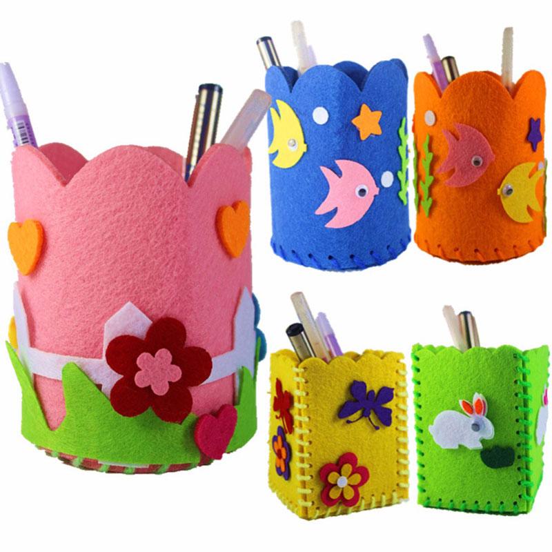 2018 Baby Educational DIY Craft Tangram Block Kit Cute Creative Handmade Pen Container DIY Pencil Holder Kids Craft Toy Kits